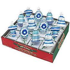 Radko Shiny Brite Winter Frost 12 Count Decorated Shape Glass Ornaments