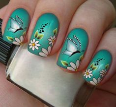 Manicure Gel, Mani Pedi, Manicure Ideas, Nail Ideas, Flower Nail Designs, Nail Art Designs, Nail Polish Crafts, Light Blue Flowers, Butterfly Nail