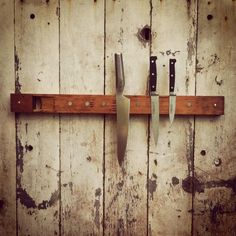 This knife holder is made from a reclaimed pipe organ's pipe. #countryliving