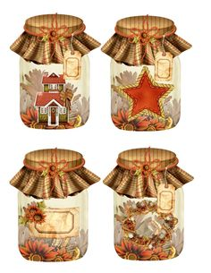 16 AUTUMN / FALL MASON JARS SCRAPBOOK HANG / GIFT TAGS FOR SCRAPBOOK PAGES | eBay