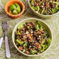 Thai-Inspired Ground Turkey Larb Salad Recipe with Sriracha, Mint, Cilantro, and Peanuts; this is a delicious salad I'd happily eat any time of year. [from KalynsKitchen.com] #LowCarb #GlutenFree #RecipeFavorite