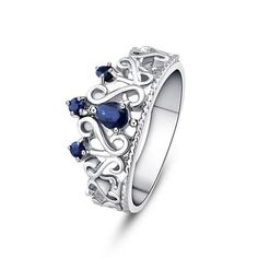 Blue Natural Sapphire Crown Sterling Silver Ring
