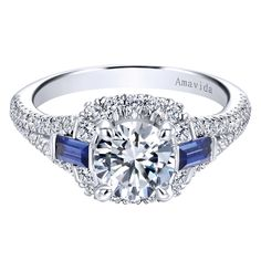 Gabriel & Co 18K White Gold 0.61 ct Diamond and Sapphire Halo Engagement Ring Setting ER12118R4W84SA