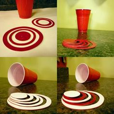 The Amazing Shrinking Cup-Kinda like shrinky dinks! Make ornamnets, anything you can imagine! Diy Craft Projects, Upcycling Projects, Diy Crafts, Craft Ideas, Upcycled Crafts, Recycled Art, Repurposed, Art For Kids, Crafts For Kids