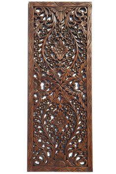 """Floral Wood Carved Wall Panel. Wall Hanging. Asian Home Decor. Decorative Thai Wall Relief Panel Sculpture. Large Wood Wall Plaque 35.5""""x13.5""""x0.5"""" Available in Brown and Light white Wash"""