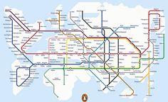 The London Underground-style map of the world. der Knoten Rhine/Ruhr gefällt mir :)