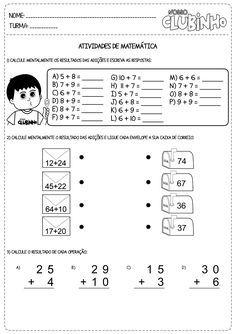 Atividades De Matematica Adicao Sem Reserva Atividades De