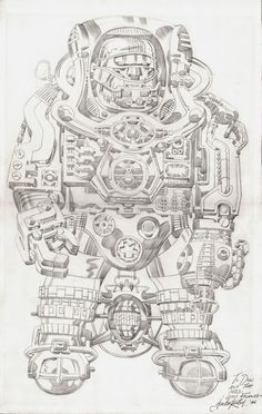 Large Fully Detailed Silver Age Marvel Robot SPLASH.... Nick Fury Splash? (1966) Comic Art For Sale By Artist Jack Kirby at Romitaman.com