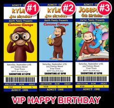 Curious+George+VIP+BIRTHDAY+INVITATION+Ticket+by+PrintTypes,+$12.95
