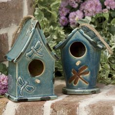 Set of 2 Ceramic Birdhouses from Through the Country Door®