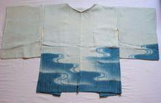Japanese Vintage Kimono, HAORI ,SILK ,Light blue-Blue,Wave, P101803  | eBay