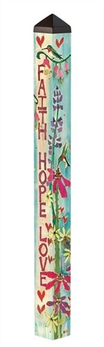 Faith, Hope, & Love Art Pole A Studio M exclusive, Art Poles are an impactful way to bring beauti Peace Pole, Garden Poles, Love Garden, Garden Ideas, Garden Inspiration, Backyard Ideas, Pole Art, Outdoor Art, Outdoor Ideas