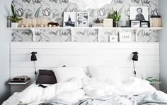 Sara's bedroom is a calming space with a coastal influence