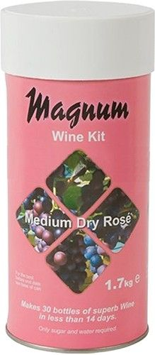 Magnum medium dry rose wine kit.  Makes 30 Bottles of wine in less than 14 days. Requires the addition of Brewing sugar (Glucose powder).