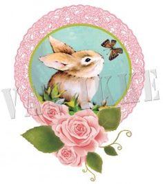 Full Color strijk applicatie Konijntje met roosjes, 14 x 18 cm  #DIY