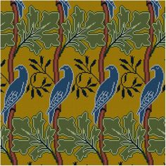 Bird and Leaf Repeating Panel Cross stitch pattern by Whoopicat