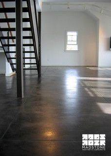 Not too shiny. Concrete Basement Floors, Painted Concrete Floors, Painting Concrete, Stamped Concrete, Polished Concrete, Concrete Countertops, Basement Remodeling, Basement Ideas, Grey Stain