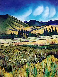 Wendy Leach Artist - New Zealand New Zealand Mountains, New Zealand Landscape, New Zealand Art, Kiwiana, Design Art, Tile Design, Landscape Art, Painting Inspiration, New Art