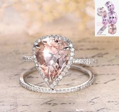 Pear Morganite Engagement Ring Bridal Set Pave Diamond Wedding White Gold from the Lord of Gem Rings… Wedding Jewelry Sets, Wedding Rings, Wedding Bells, Engagement Ring Settings, Engagement Rings, Morganite Engagement Ring Pear, Fine Jewelry, Jewelry Rings, Women Jewelry