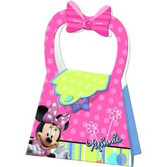 "All your birthday party Mousketeers will be delighted to receive their very own little purse filled with party loot!  Minnie Mouse Bow-tique treat boxes are sold in packs of 4, and measure 5.5"" W at the base by 8"" H including the handle."
