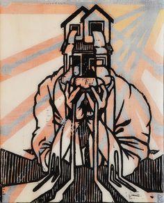 Reuben Kambeitz -  HOME FLAG V, 2015 Acrylic & Archival Ink Linocut on Paper Epoxy Overcoat 10˝ × 8˝
