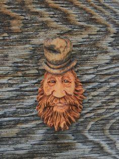 Wood  Spirit Top Hat  Carving Ooak Hobbit Sorcerer Gnome Dandy Scott Longpre