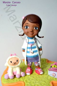 Marzia Caruso cake design added a new photo. Doc Mcstuffins Cake, Doc Mcstuffins Birthday, Fondant Toppers, Fondant Cakes, Dora Cake, Baby Mold, Movie Cakes, Funny Cake, Fondant Tutorial