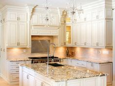 White Kitchen Cabinets and chandelier!