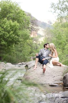 Engagement session in the woods of Sedona, Arizona, along a beautiful creek. Country Engagement Pictures, Engagement Photo Poses, Fall Engagement, Engagement Couple, Engagement Shoots, Engagement Photography, Wedding Pictures, Wedding Photography, Engagement Inspiration