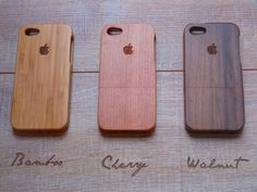 Iphone 5 case - wooden cases walnut, cherry or bamboo wood - Apple logo. $45.00, via Etsy. for him