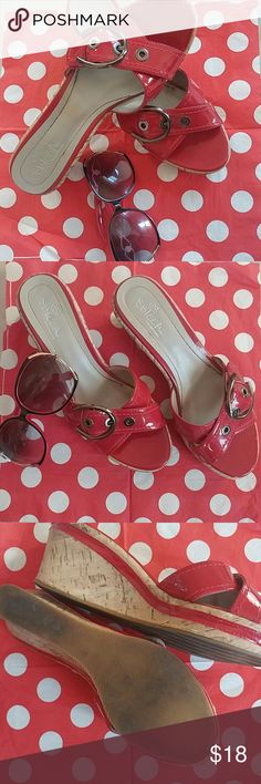 🔥GREAT-SBICCA RED Slides Red patent leather wedge slides. Gently worn and formally loved SBICCA Shoes Sandals
