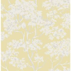 Brewster 8 in. x 10 in. Paix Yellow Trees Wallpaper Sample