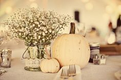 BridalHood: Real Wedding: Dan and Rachel's Vintage Fall Wedding but drill holes in pumpkins and add candle .look how the babys breath looks . White Pumpkin Centerpieces, Fall Wedding Centerpieces, Rustic Centerpieces, Wedding Decorations, Table Decorations, White Pumpkin Decor, Otoño Baby Shower, Farm Wedding Photos, Wedding Ideas