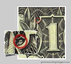An owl on the one dollar bill, the symbol of Bohemian Grove