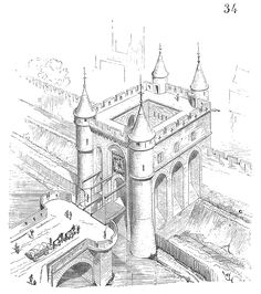 Paris - Porte Saint-Denis : la porte fortifiée de l'enceinte de charles V, avec la fortification (muraille et fossé)