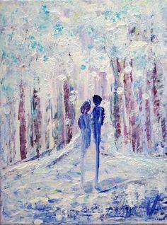 Winter Romance Original Painting Landscape Trees Couple Snowy Day Park Artwork #Impressionism
