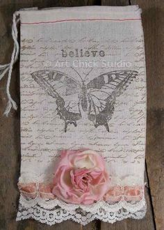 """Shabby Chic """"Believe"""" pouch."""