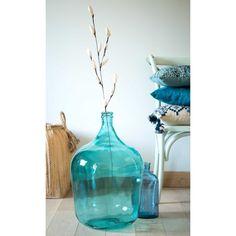 Vase Dame-Jeanne en verre teinté bleu H.56cm BOHEME | Maisons du Monde
