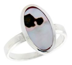 "Sterling Silver Oval Shell Ring, w/Brown & White Mother of Pearl Inlay, 11/16"" (17mm) wide, size 9 Sabrina Silver. $26.10"