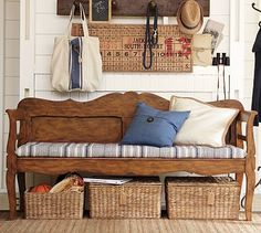 Mudroom: bench from our old headboard, with baskets for storage. Bench With Storage, Storage Baskets, Shoe Storage, Diy Storage, Furniture Upholstery, New Furniture, Old Headboard, Antique Bench, Entryway Bench