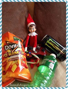200 Easy Elf on the Shelf Ideas.  I think Elf is eating too much junk food.  Not healthy....