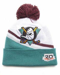 Mitchell N Ness Anaheim Mighty Ducks 20th Anniversary White Retro Pom Knit  Beanie Hat White 7a9064d7f