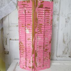 Wooden shutters large bold pinks shabby chic by AnitaSperoDesign, $80.00
