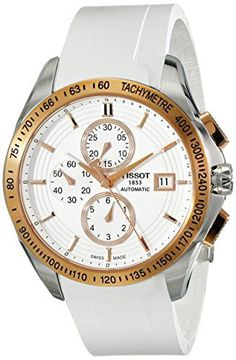 Tissot Men's  'Veloci-T' White Dial White Rubber Strap Chronograph Watch T024.427.27.011.00 >>> Check out this great product.