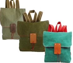 Waxed Canvas Backpack - totally want the turquoise one!