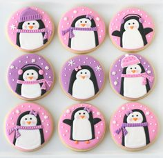 Pink and Purple Penguin Cookies (with decorating tutorial) - by Glorious Treats