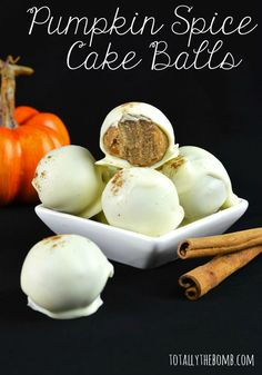 Chocolate Covered Pumpkin Spice Cake Balls are like pumpkin spice for the soul...Click now!