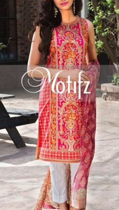 Buy Dark-Pink Embroidered Cotton Lawn Dress by Motifz Lawn Collection Vol.II 2015.