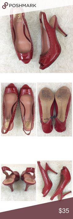 """Vince Camuto Red Open Peep Toe Sling Back Heels 🎀 4.5"""" Heel  🎀Condition: Gently Used; No Outside Flaws; Minimal signs of usage; No Rips; No Stains  🎀Patent Leather  📦 I ship orders within 24 Hours! {Excluding Weekends}📦  🚫No Trades🚫No Holds🚫 Vince Camuto Shoes Heels"""