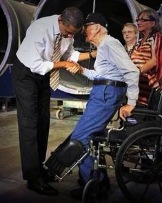 """POTUS asked 90-yr old Vet not to get up. He said, """"No, sir. You are the President..."""" It's all about Mutual Respect!! Beautiful!!"""